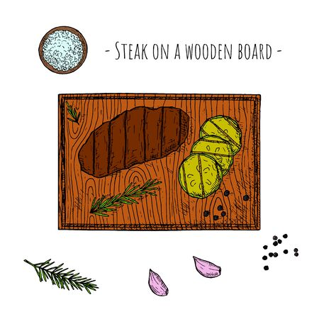 Grilled meat steak on a wooden board. Vector cartoon illustration. Isolated objects on a white background. Hand-drawn style. Top view.