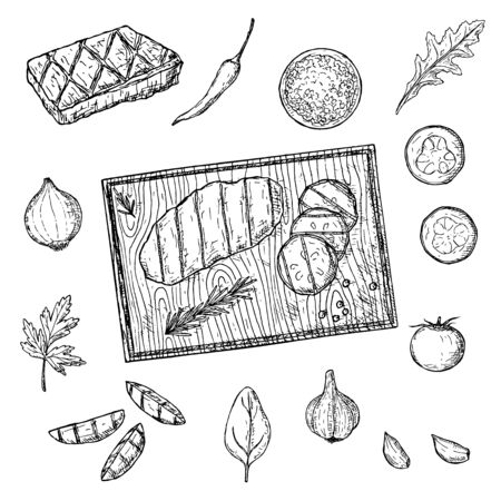 Set of meat steaks and vegetables. Vector cartoon illustration. Isolated objects on a white background. Hand-drawn style. Top view.