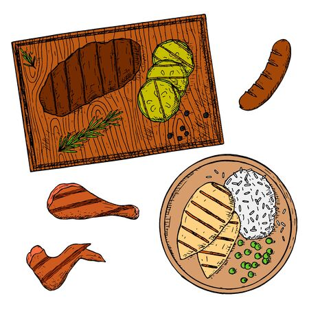 Grilled food collection. Hand-drawn isolated meat dishes. Vector cartoon illustrations.