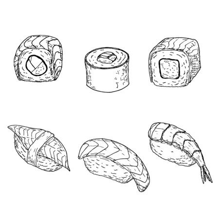 Sushi set. Vector cartoon illustrations. Isolated objects on a white background. 일러스트