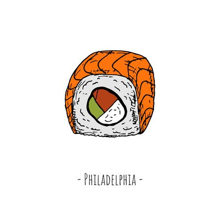 Sushi. Vector cartoon illustration. Isolated object on a white background.