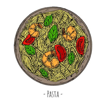 Pasta with shrimps, tomatoes and spinach. Italian food. Top view. Vector cartoon illustration.
