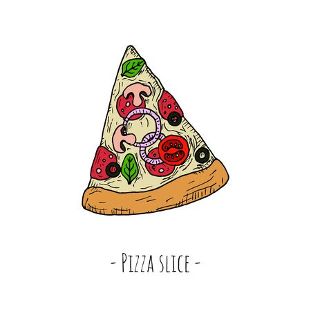 Pizza slice. Isolated object on a white background. Hand-drawn style. Vector cartoon illustration.