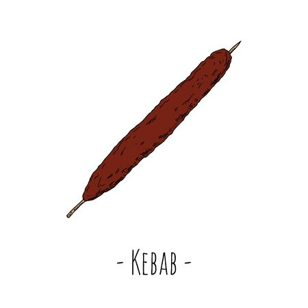 Kebab. Hand-drawn illustration. Isolated object on a white background. 일러스트