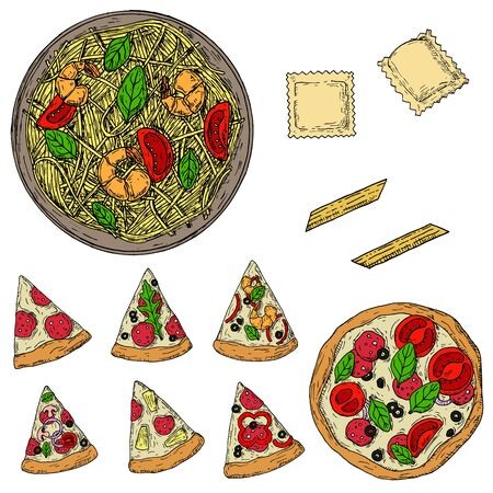 Italian food. Vector cartoon illustrations. Isolated objects on a white background. Top view.