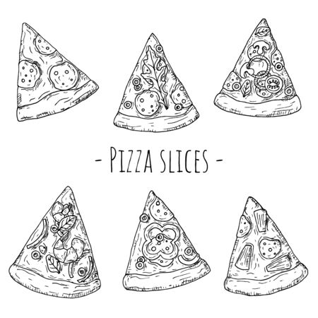 Pizza slices set. Italian food. Hand-drawn style. Vector cartoon illustrations. Isolated objects on a white background.