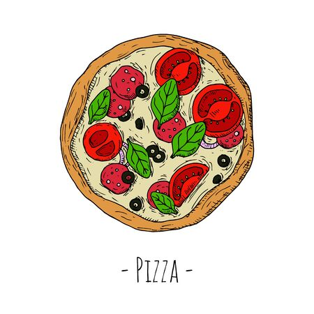 Whole pizza with pepperoni, tomatoes, spinach leaves and olives. Vector cartoon illustration. Isolated objects on a white background.