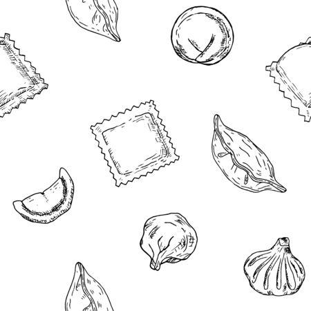 Seamless pattern of dumplings. Vector cartoon background.