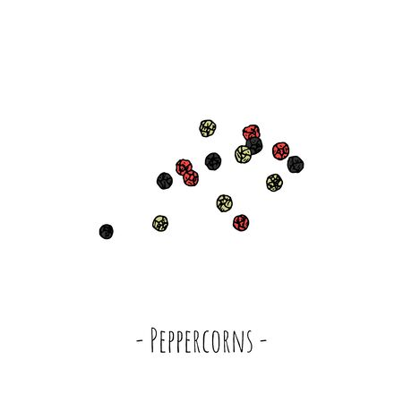 Peppercorns. Vector cartoon illustration. Isolated object on a white background. Hand-drawn style. Ilustração