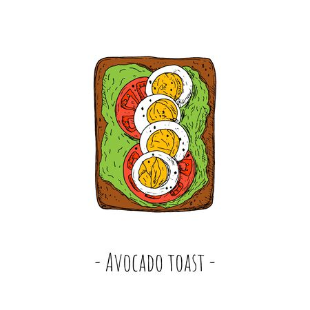 Avocado toast with tomato slices and sliced boiled eggs. Top view. Vector cartoon illustration. Isolated object on a white background. Hand-drawn style.