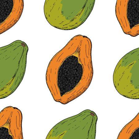 Seamless pattern of whole papaya and papaya half. Vector cartoon background. Hand-drawn style.
