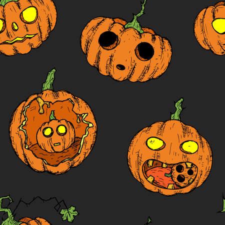 Seamless pattern of halloween pumpkins. Vector cartoon background. Hand-drawn style.