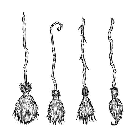 Witch broom. Vector cartoon illustrations. Isolated objects on a white background. Hand-drawn style.