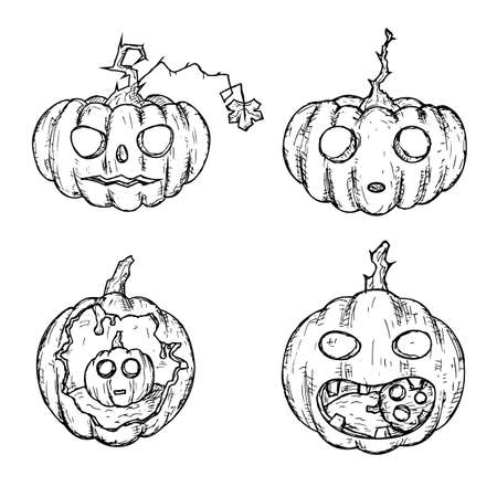 Halloween pumpkins. Jack'O'Lanterns. Isolated objects on a white. Vector cartoon illustrations. Hand-drawn.