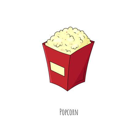 Popcorn. Isolated object on white. Vector cartoon illustration. Flat design. Vector Illustration