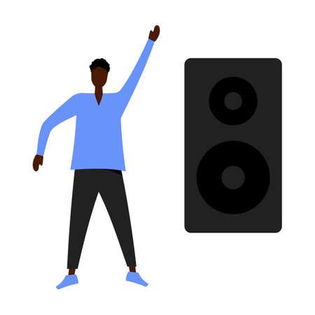 Dancing man. Musical mood. Vector cartoon illustration.