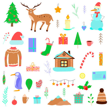 Set of Christmas illustrations. Vector cartoon icons. Isolated objects on white. Flat design.