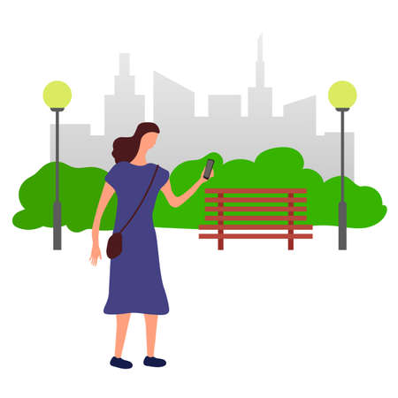 A woman in a blue dress with a phone and a handbag walking in a park. Vector illustration. Isolated. Flat design.