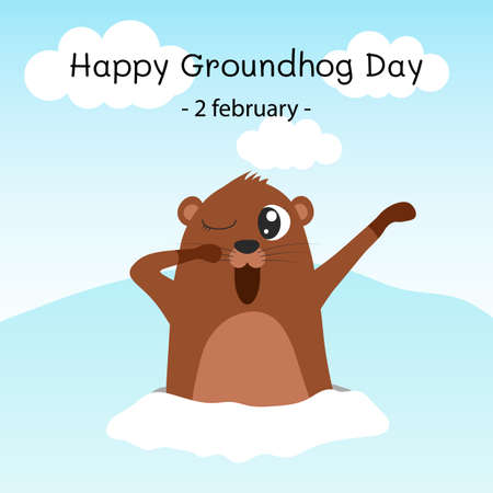 Happy groundhog day. Groundhog coming out of its burrow and yawning. Vector cartoon illustration. Groundhog character. Isolated object. Illustration