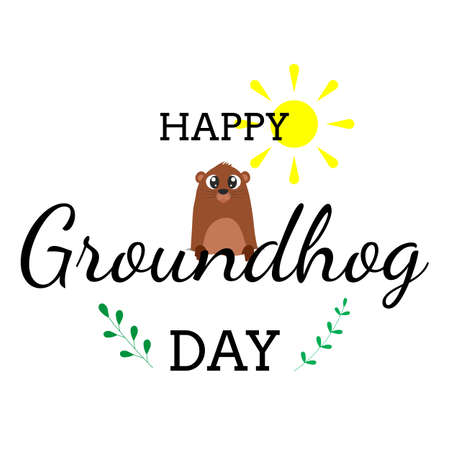 Happy groundhog day lettering. Text with cute groundhog coming out of its hole with sun above. Design for greeting card, banner, poster. Ilustracja