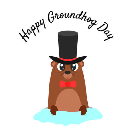 Happy groundhog day. Groundhog in a hat coming out of its burrow. Vector cartoon illustration. Groundhog character. Isolated object.