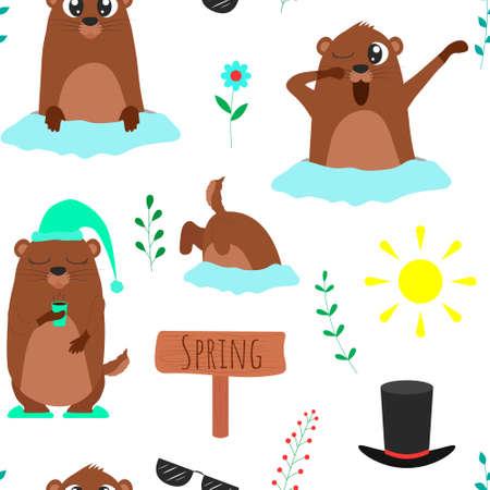Seamless pattern of Groundhog day illustrations. Vector cartoon background. Flat design. Vector Illustration
