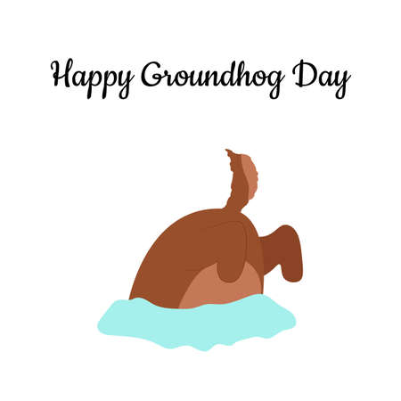 Happy groundhog day. Groundhog coming out of its burrow. Vector cartoon illustration. Groundhog character. Isolated object.