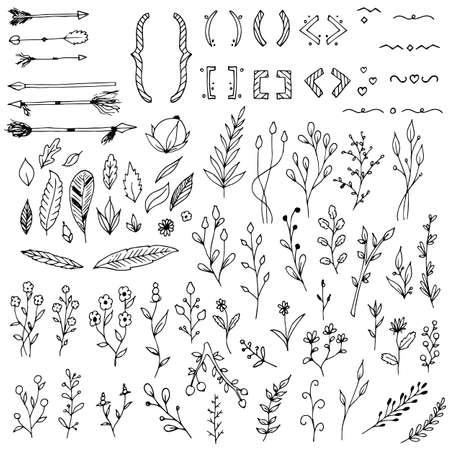 Set of plants, branches, floral elements, arrows, braces and parentheses. Vector illustrations. Isolated objects on white. Hand-drawn style.