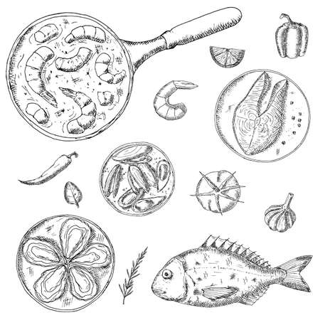 Seafood. Vector illustrations. Isolated objects on a white background. Hand-drawn style.Top view. Mediterranean cuisine.
