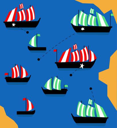 Battle of ships. Cover, poster and banner. Vector illustration. Flat design.