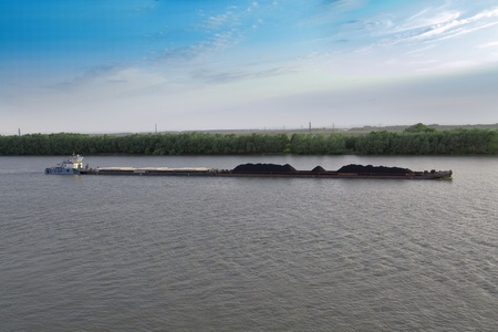 coal of barge on Mississippi Stock Photo - 13566889