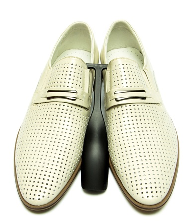 Man s shoes on white background photo