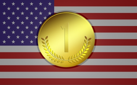 Olympic medal in the background of USA flag Stock Photo - 14666797