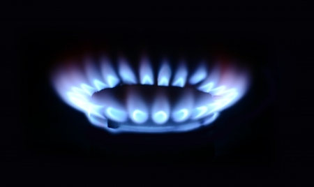 blue flame of gas on a black background Stock Photo - 18152841