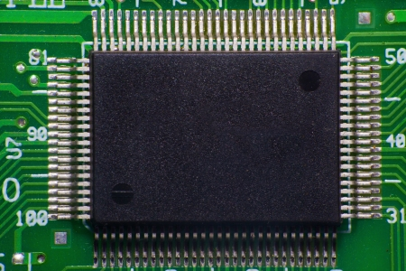 Macro view of processor microchip photo