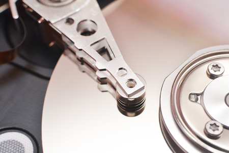 disk drive: Partially view of disassembled hard disk drive