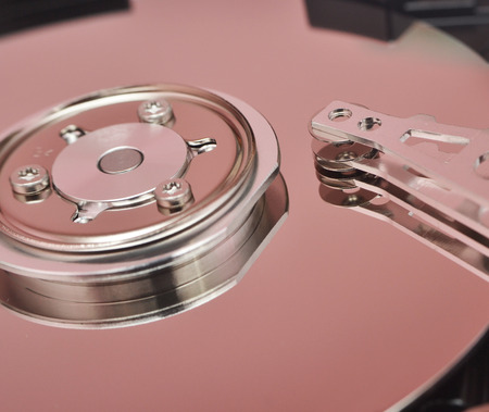 disassembled: Partially view of disassembled hard disk drive