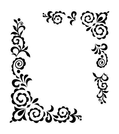 Noir décoratif d'ornement de cru sur la silhouette blanche