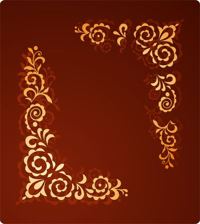 romp: Decorative vintage ornament on the red background
