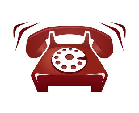Illustration of red ringing phone isolated on white illustration