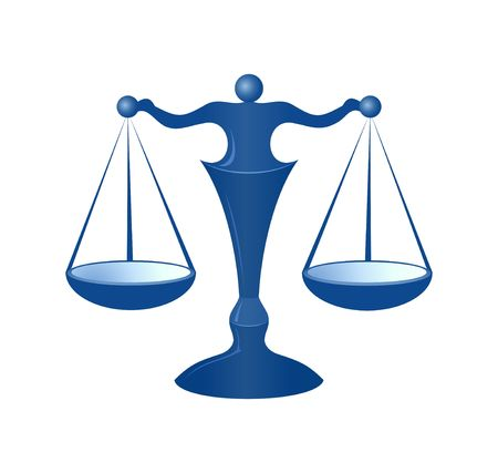 Blue justice scales on the white background