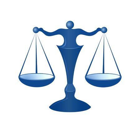 balanza de la justicia: Escalas azules de la justicia en el fondo blanco Foto de archivo