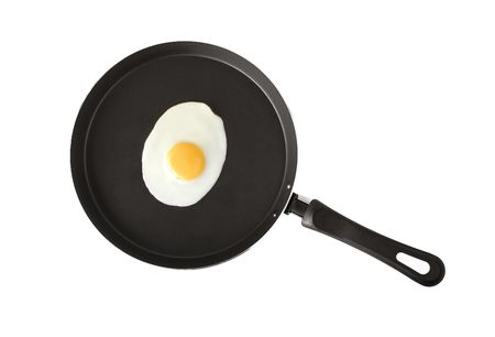 A fried egg  in a frying pan photo