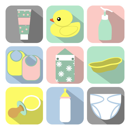 infant bathing: Set of icons with baby items
