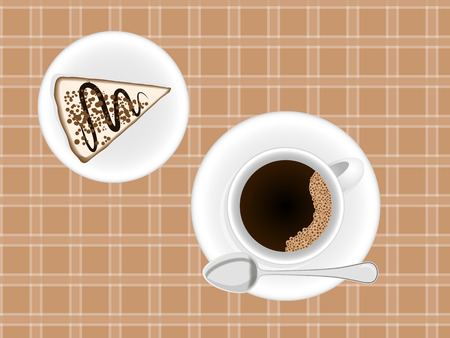 caf: A Cup of coffee cappuccino with a pattern on the tablecloth and napkin