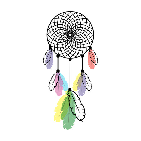 stylistic: Stylistic dream catcher with multi-colored feathers on white background Illustration