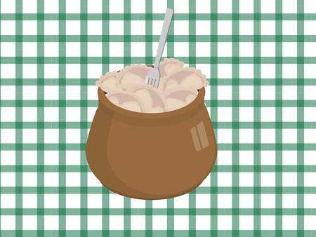 earthen pot: Earthen pot with dumplings and the fork Illustration