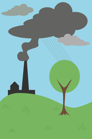 ecological problem: Ecological problem because of pollution of the planet Illustration