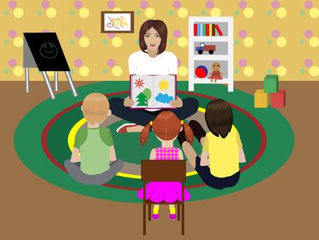 children's story: kindergarten teacher Illustration