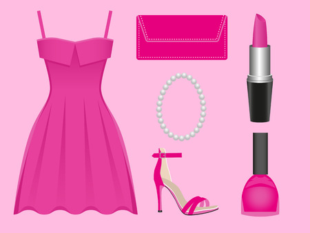 prom dress: the set of apparel and accessories of pink color Illustration